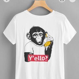 Girls Monkey Print Tee
